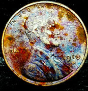 1910 S Lincoln Wheat Penny Cent- Beautiful Toning Closely Uncirculated