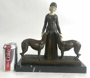 Handcrafted Bronze Art Deco Friends Forever Lady With Dogs Statue Chiparus Sale