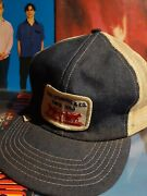 Rare Vintage Levi Strauss Denim And Mesh Back Snapback Farmer Trucker Hat And Patch