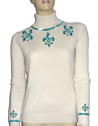 Luxe Oh` Dor 100 Cashmere Sweater Pearl White Turquoise Blue 50/52 Xl/xxl