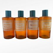 4 Vintage French Apothecary Pharmacy Chemist Bottles Jars And Covers Antique Glass