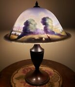 Antique Pairpoint Reverse Painted Scenic 16 Table Lamp