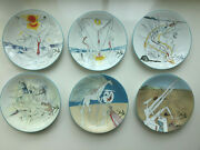 Salvador Dali 6 Porcelain Plates And039and039le Conquete Du Cosmos And039and039 Edition Limoges