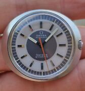 Vintage Menand039s Omega Geneve Automatic Dynamic Watch Two Tone Sector Dial Ufo Disc