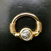 14 Karat Yellow Gold Flip Ring With Ancient Greek Lions Head Coin.