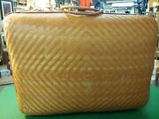 Woven Rattan/wicker And Bamboo Luggage Suitcase Vtg.
