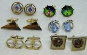 Vintage Lot 6 Pair Cuff Links Rhinestones All But 1 Signed Swank