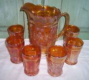 Fenton Carnival Glass Marigold Butterfly Pitcher And 6 Tumbler Set