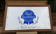 Pabst Blue Ribbon Original Beer Mirror What'll You Have Pbr 59x35 Bar, Large