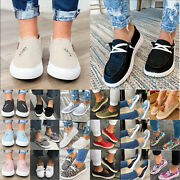Women Slip On Flat Loafers Sneakers Trainers Ladies Work Casual Comfy Boat Shoes