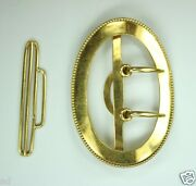 Antique Estate Jewelry Signed 14k Yellow Gold Oval Belt Buckle 2.25h C1900s