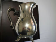 Wm. Rogers Silverplate 817 Footed Water Pitcher With Ice Catcher 9 Tall