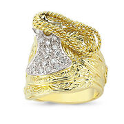9ct Gold Saddle Ring Cz Solid Heavy Horse Shot Knot Cowboy Band Boxed