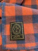 Vintage Faribo Pure Wool Red Blue Plaid Blanket Queen Size 98 X94 Usa
