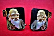 Vintage 1950's Hand Painted Glass Japanese Toshikane Cufflinks By Swank