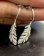 9ct White Gold Diamond Earrings 0.40ct Feather Leaf Drop Dangle Cocktail Studs