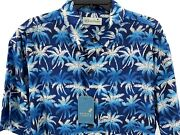 Menand039s Caribbean Palm Trees Shirt Size L Blue White Hawaiian Aloha Button Up New