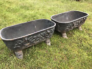 Pair Of 27andrdquo French Antique Cast Iron Footed Garden Urn Planter W/ Rings