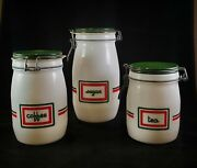 3 Vintage Wheaton 70s Milk Glass Sugar Tea Coffee Canister Red And Green Stripe