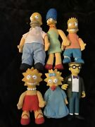 1990 Simpsons Family Burger King Plush Dolls Lot Of 5 + Smithers