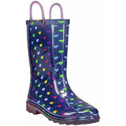 New Memberand039s Mark Navy Blue Rain Boots Child Girl Colorful Hearts Fast Shipping