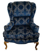 Vintage Mid-century Pillow-top Wingback Chair With Navy Blue Velvet