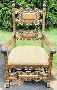 Antique 1880s Oak King Chair Hand Carved Scroll Motif Gothic Castle Wood Office