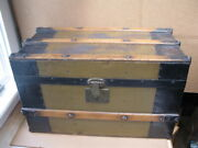 Rare Colorado Label Antique Childand039s Or Doll Steamer Trunk W H Wise Springs