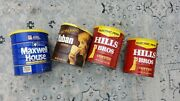 Four 4 Mixed Vintage Tin Coffee Cans Maxwell House Yuban Hills Bros W/lids