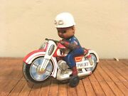 Very Rare And Vintage Lithographed Tin Police Motorcycle Japan 60´s