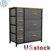 7 Drawers Dresser Clothes Storage Cabinet Wooden Top Organizer Unit For Bedroom