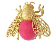 Vintage Italian 6.20ct Rose Quartz And 18carat Yellow Gold And039bumblebeeand039 Brooch