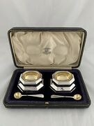 Impressive Pair Of Antique Silver Salt Cellars And Spoons 1893 London Sterling