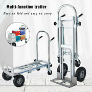 880lbs Capacity 2in1 Convertible Folding Utility Cart Aluminum Hand Truck Dolly