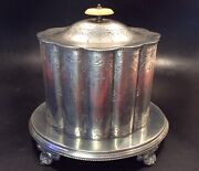 Antique 19th C English Oxford Pewter Footed Biscuit Barrel On Stand C1865