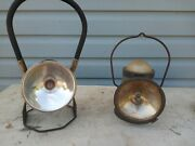 2 Vintage Deltra Electric Company And Ecolite Lantern Railroad Or Miner's Lamps