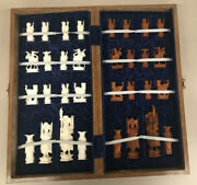 Vintage Hand Carved Bone Chinese Chess Set With Wooden Latched Box
