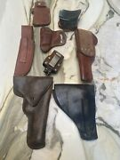Vintage Lot Of 8 Preowned Leather Holsters Props Western Ranch Americana Tooled