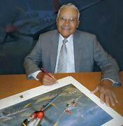 15th Air Force P-51 Print Autographed By Charles Mcgee And The Tuskegee Airmen