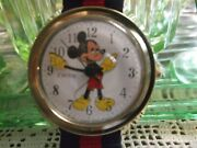 Vintage Serviced Timex Electric Mickey Mouse Watch Nice Goldtone Case Verynice