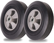 2pk 10x2 Flat Free Solid Rubber Tires For Hand Trucks And Wheelbarrows