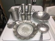Vintage Everlast Hand Forged Aluminum Pitcher And Cups Ashtray Everything