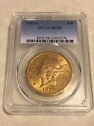 1881-s Au58 Pcgs Liberty Double Eagle 20 Gold Coin Nice Coin Almost Ms