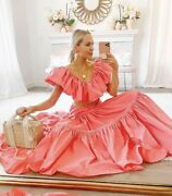 Handm Ss2020 Ruffle Trimmed Taffeta Dress Coral Pink Sold Out - Large
