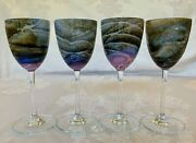 Steven Maslach Volcano Art Glass 8 Wine Goblets 4 Signed And Dated 1975-1976
