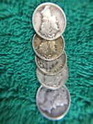 [lot Of 5] Mercury Dimes 1916-1945 90 Silver 50 Cents Face Value 90 Silver