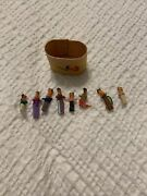 """Vintage Lot Of Mexican Miniature Dolls Handmade With Basket 1"""" Rare Ooak"""