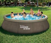 Summer Waves 14and039 X 36 Wicker Print Quick Set Pool W/filter-pump Fast Shipping