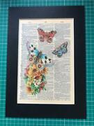 Butterflies And Flowers Vintage Style Dictionary Page Black Mounted A4 Print