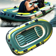 Green Pvc Inflatable Three Person Rowing Air Boat Fishing Drifting Diving Tool